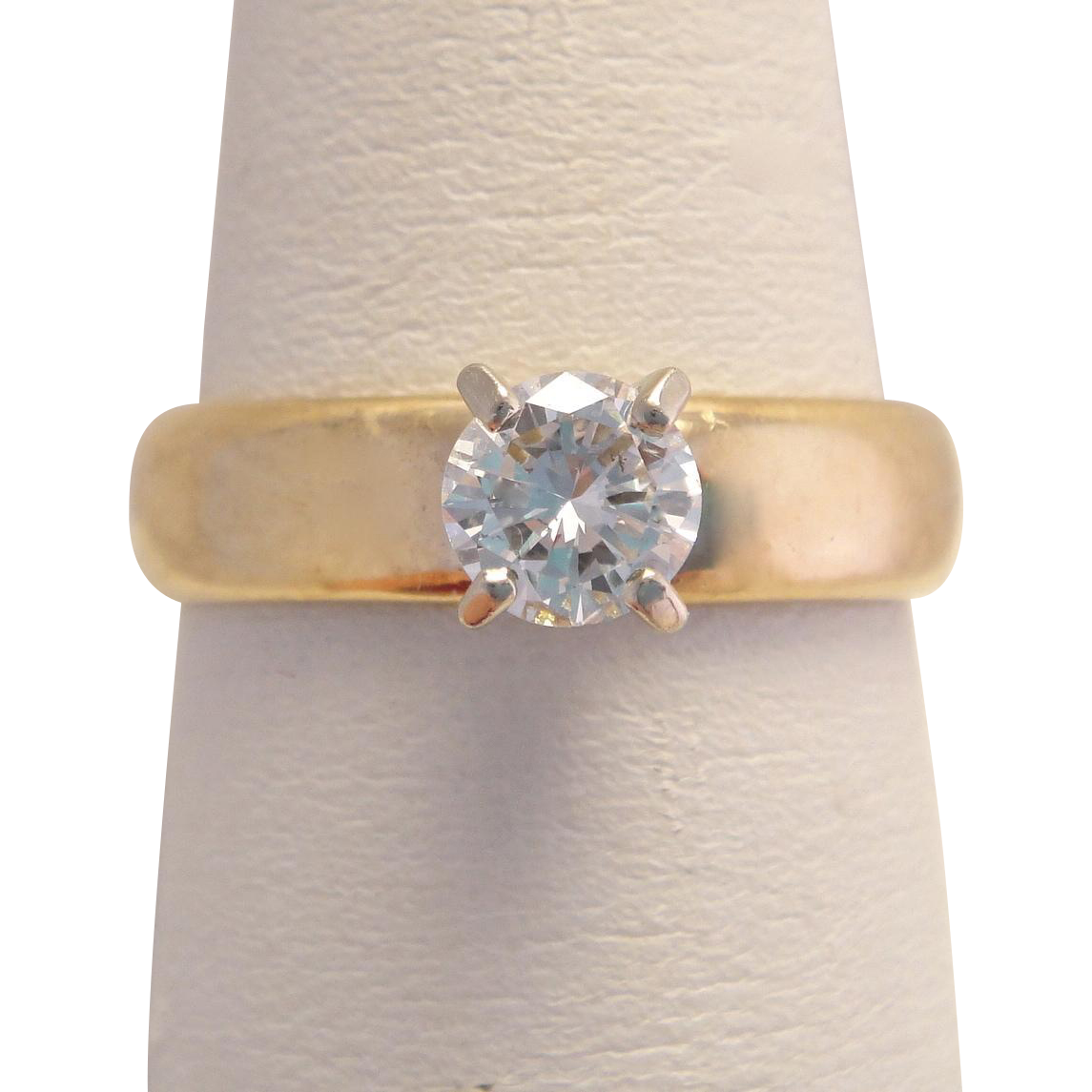 Vintage Gold Custom .63 Carat Solitaire Diamond Ring