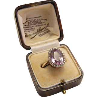 Antique Rose De France Amethyst Seed Pearl Gold Ring