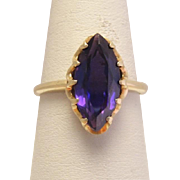 Vintage 10k Gold Amethyst Marquis Ring