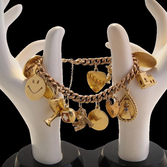 Vintage 14k/10k Gold Charm Bracelet 60 grams!
