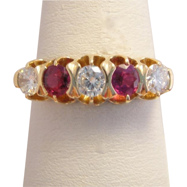 Edwardian 14k Gold Ruby Diamond Ring Band