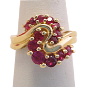 Vintage Ruby Heavy 14k Gold Swirl Ring