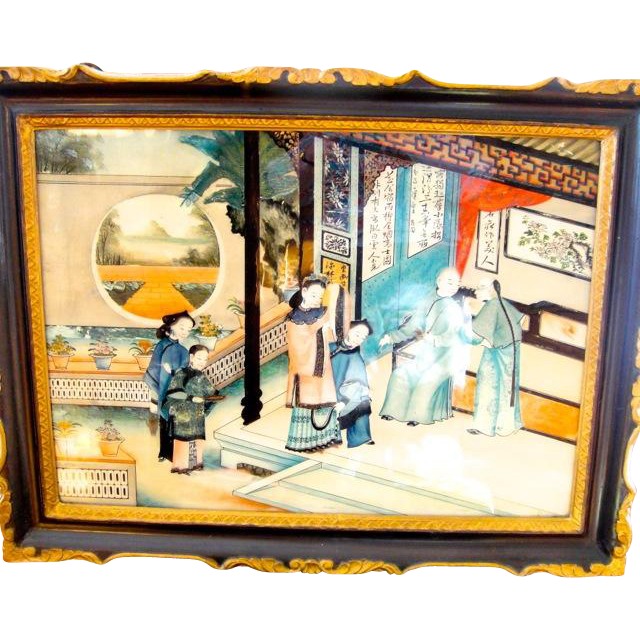 Pair Early 19th Century (1810-1830) Large Chinese Reverse Painting on Glass