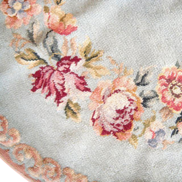 Antique French Needlepoint Tapestry Table Cover