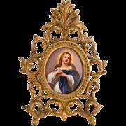Antique Virgin Mary Icon KPM Porcelain Plaque Framed