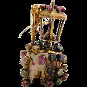 Rare Antique Gem Set Carved Elephant Ornament