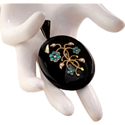 Large Victorian Antique 15K Gold Onyx Pendant Turquoise and Pearls Locket