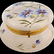 Antique Frosted Bachelor Button Enameled Dresser Patch Box Powder Jar