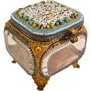 Antique Italian Micro Mosaic Jewelry Casket Glass Box Vitrine