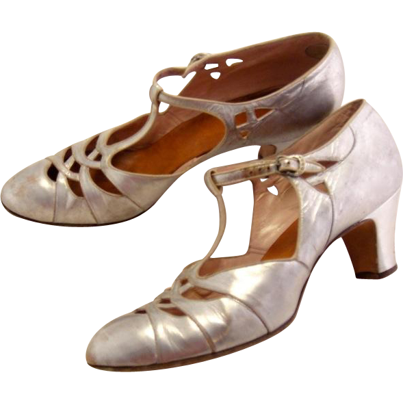 Art Deco 1920's Gatsby Flapper Silver Leather Rhinestone Shoes