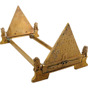Egyptian Revival Solid Brass Book Rack Slide ca. 1920