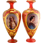 Pair of Bohemian Moser 1900's Portrait Cranberry Red Gilded Vases