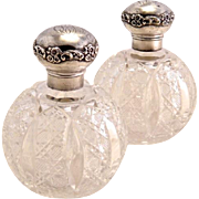 Antique Pair Crystal & Sterling Perfume Bottles 19th-Century England