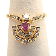 Victorian Art Nouveau Ruby Diamond 14k Gold Fan Ring