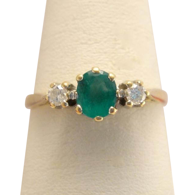Antique Edwardian 10k Gold Emerald & Diamond Ring