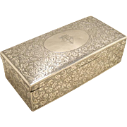 Sterling Silver Victorian Large Scroll Engraved Box