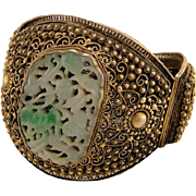 Antique Chinese Export Filigree Gilt Sterling Jade Bracelet Cuff