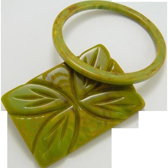 Large BAKELITE Brooch and Bracelet Carved Art Deco Avocado Green Bakelite
