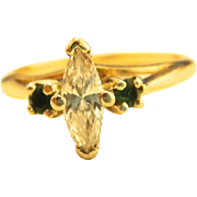 14K Yellow Gold .35 Carat Marquis Solitaire Diamond Emerald Ring