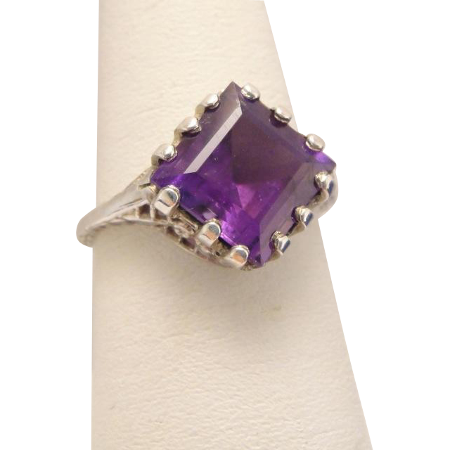 Edwardian Sterling Silver Amethyst Filigree Ring
