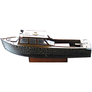 Antique Hand-crafted Electric Wooden Toy Pond Boat