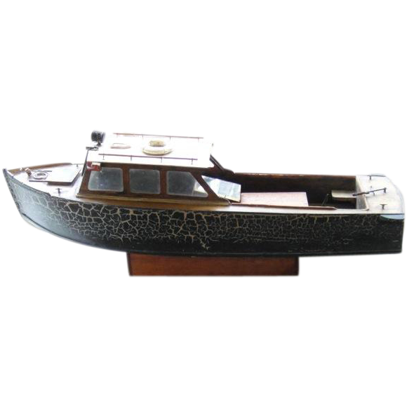 Large Antique Hand-crafted Electric Wooden Toy Pond Boat