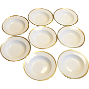 Haviland & Co. Limoges White and Gold Soup Bowls Set Of 8