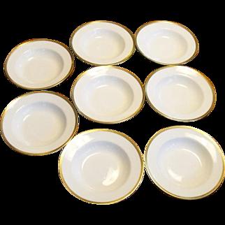 Haviland & Co. Limoges White and Gold Soup Bowls Set Of 8