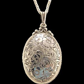 BIRKS Vintage Floral Engraved Oval Sterling Silver Locket