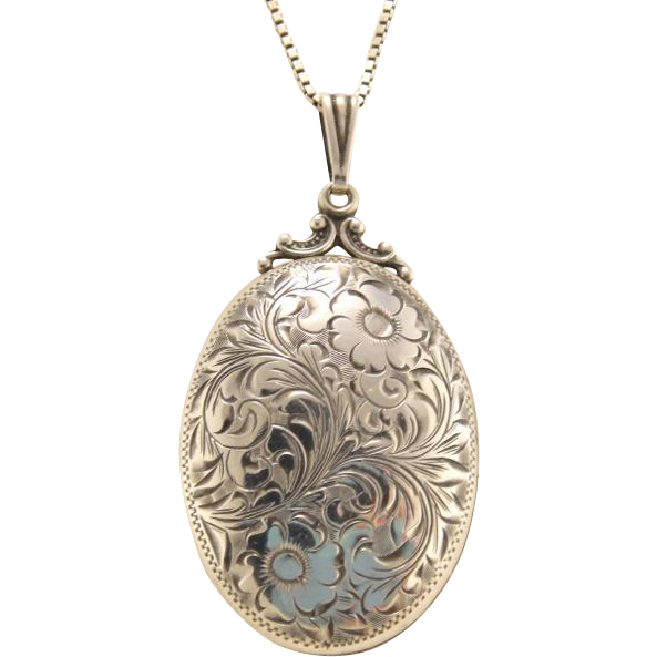 BIRKS Vintage Floral Engraved Oval Sterling Silver Locket