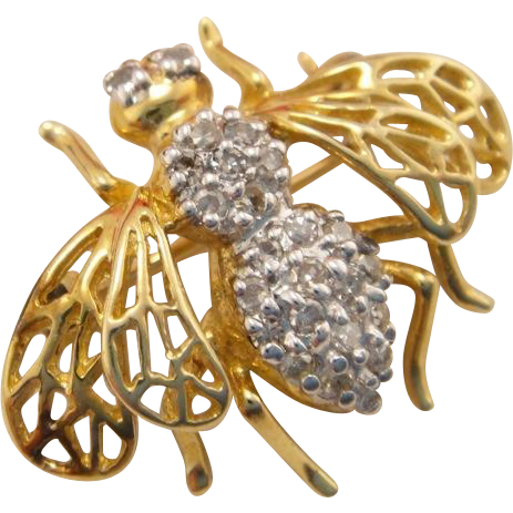 Estate 10k Gold Diamond Bee Brooch