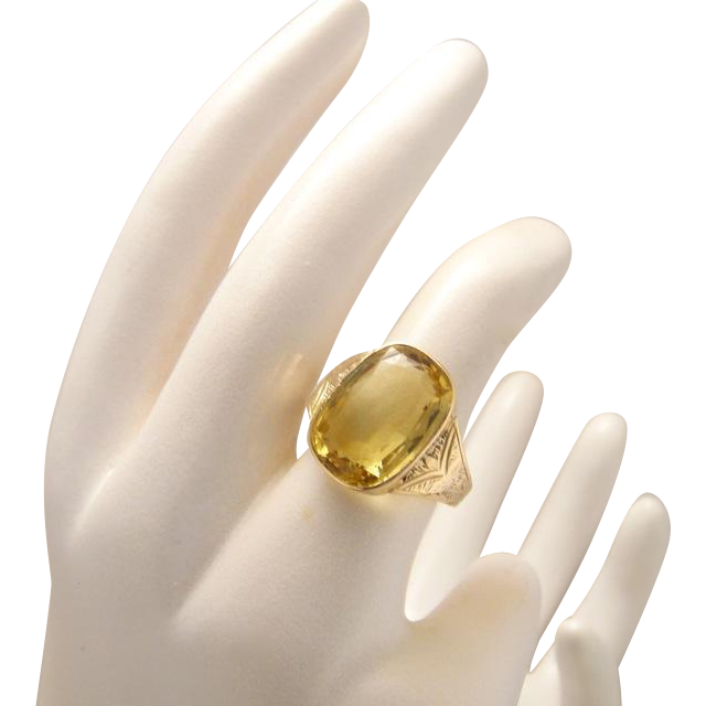 Fine Large Victorian 7 Carat 9k Gold Citrine Ring