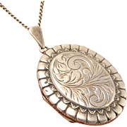 English Vintage Floral Engraved Oval Sterling Silver Locket