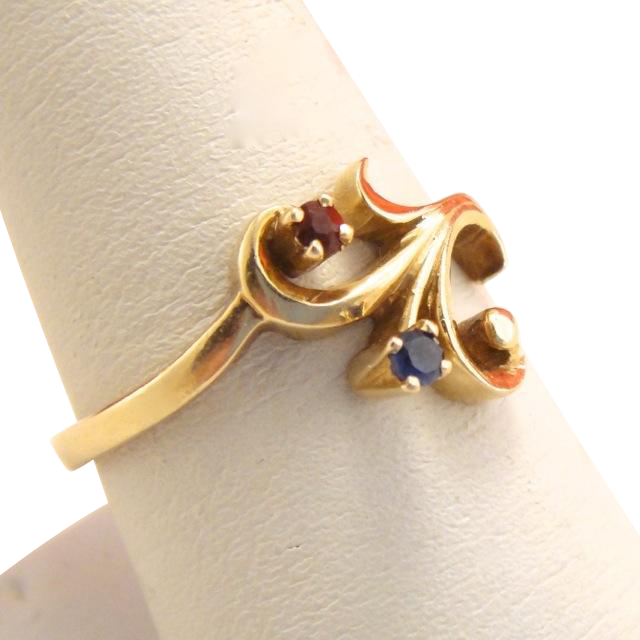 Antique Edwardian 14k Gold Ruby Sapphire Swirl Ring