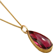 Antique 14k Gold Pear Garnet Pendant