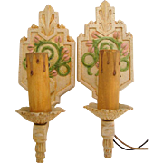 Vintage Art Deco All Original Pair of Candle Wall Sconces