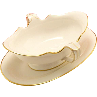Antique Sevres Porcelain France Gold and White Porcelain Gravy Dish