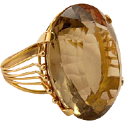 Vintage Designer 14k Gold Smokey Topaz Dinner Ring