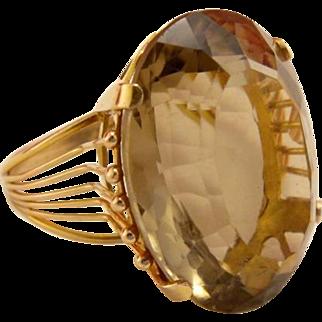 Vintage Designer 14k Gold Smokey Topaz Dinner Ring