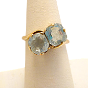 Vintage 14k Gold Art Deco Aquamarine Ring