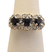 Antique 18k Gold Platinum Sapphire Diamond Ring