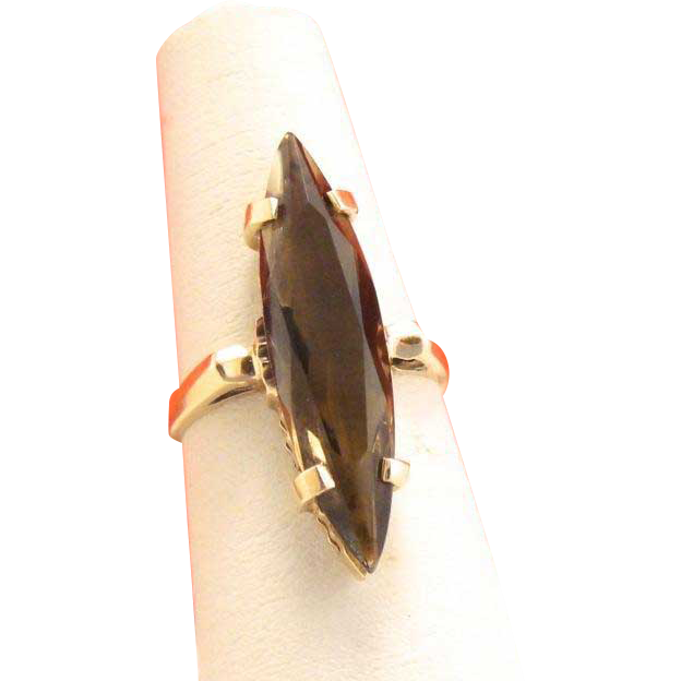 Vintage 10k Gold Retro Smokey Topaz Marquis Ring