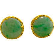 Estate 22K Gold Jade Earrings