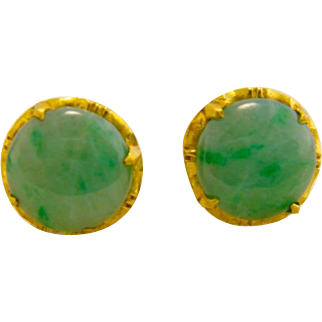 Estate 22K Gold Jade Earrings