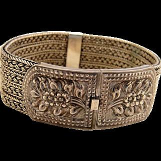 Vintage Sterling Silver Wide Mesh Cuff Bracelet