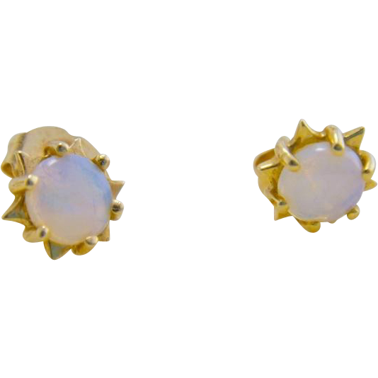 Vintage Estate 14K Gold Opal Earrings