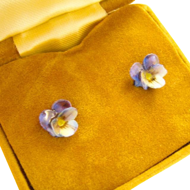 Vintage Sterling Silver Pansy Earrings