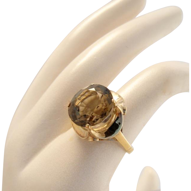 Vintage 14k Gold Retro Smokey Topaz Ring