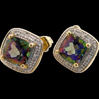 Estate 10K Gold Mystic Topaz and Diamond Earrings