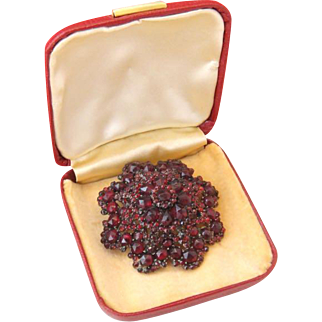 Antique Victorian Bohemian Garnet Pin Brooch